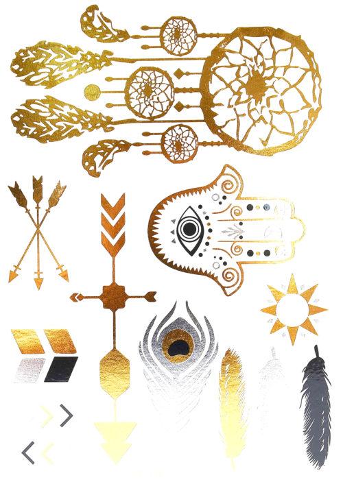 Planche-Tattoo-Tatouage-Ephemere-Body-Art-Symboles-Ethnique-ArgentOrNoir