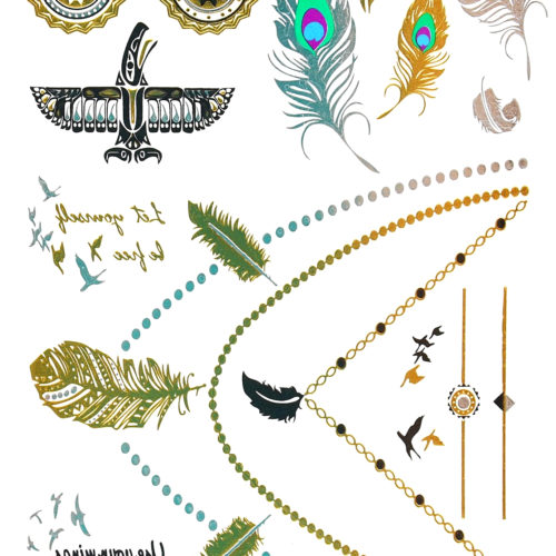 Planche-Tattoo-Tatouage-Ephemere-Body-Art-Colliers-Plumes-Multicolore