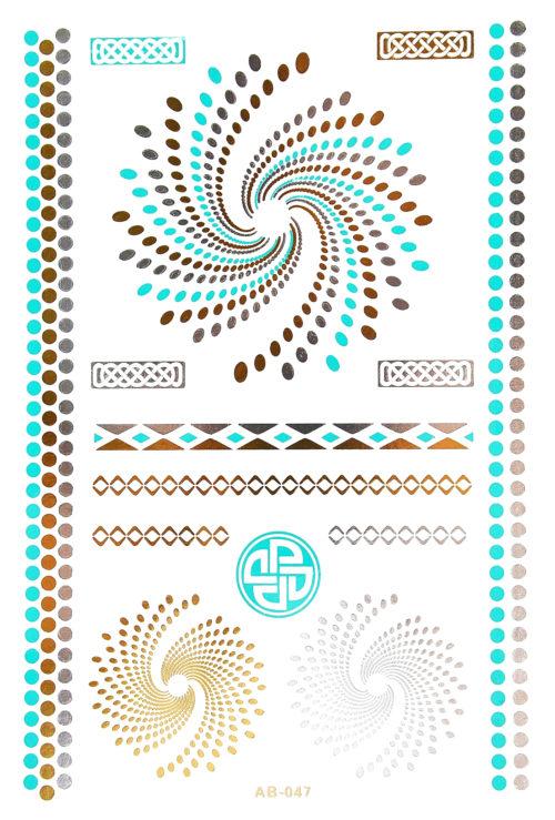Planche-Tattoo-Tatouage-Ephemere-Body-Art-Spirales-ArgentOrBleu-Vert
