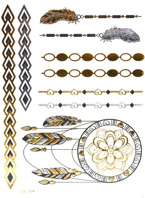 Planche-Tattoo-Tatouage-Ephemere-Body-Art-Ethnique-ArgentOrNoir