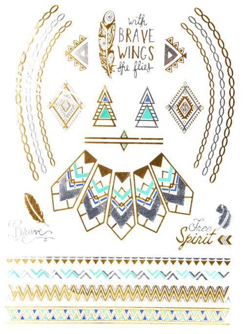 Planche-Tattoo-Tatouage-Ephmre-Temporaire-Body-Art-Ethnique-ArgentOrBleue