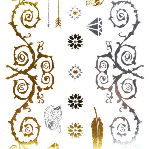Planche-Tattoo-Tatouage-Ephemere-Temporaire-Body-Art-Fleurs-et-Symboles-ArgentOrNoir