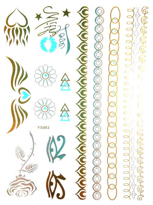 Planche-Tattoo-Tatouage-Ephemere-Body-Art-Symboles-et-Bracelets-ArgentOrBleu
