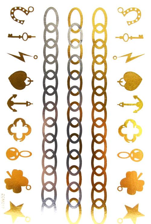 Planche-Tattoo-Tatouage-Ephemere-Body-Art-Chaines-et-Charms-ArgentOr