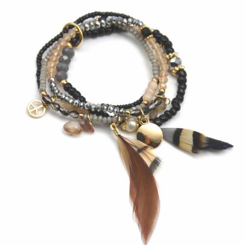 Bracelet-Multi-Rangs-Ethnique-Perles-Rocaille-Pierres-et-Plumes-NoirBeige