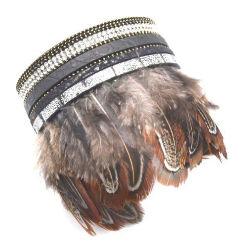 Bracelet-Manchette-Multi-Rangs-Simili-Cuir-Strass-et-Plumes-de-Paon-Ethnique-Noir