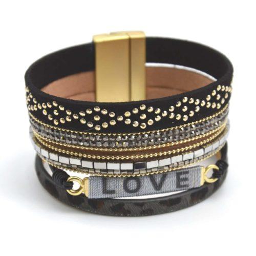 Bracelet-Manchette-Multi-Rangs-Clous-Leopard-Perles-et-Love-Noir
