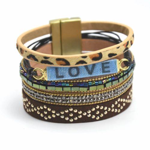 Bracelet-Manchette-Multi-Rangs-Clous-Leopard-Perles-et-Love-Multicolore