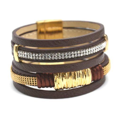 Bracelet-Manchette-Multi-Rangs-Simili-Cuir-Marron-avec-Bandes-Metal-et-Strass