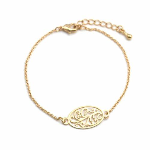 Bracelet-Fine-Chaine-avec-Charm-Ovale-Arabesques-Metal-Dore