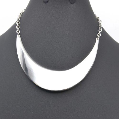 Collier-Chaine-Metal-et-Demi-Torque-Plate-Argente