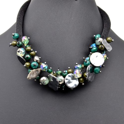 Collier-Tour-de-Cou-Perles-a-Facettes-Vert-Sapin-et-Pieces-Metal-Gris
