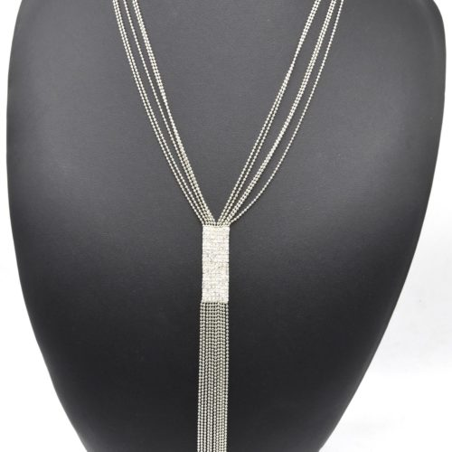 Sautoir-Collier-Multi-Chaines-Brillantes-Metal-et-Bande-Strass-Chic-Argente