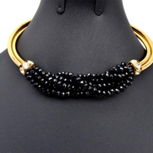 Parure-BOCollier-Ras-du-Cou-Pendentif-Multi-Rangs-Torsades-Perles-Brillantes-Noir