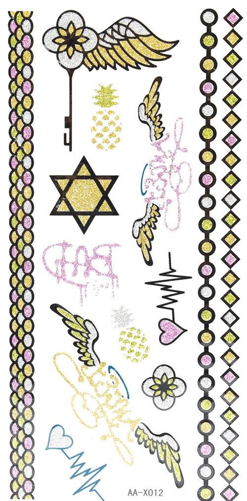 Planche-Tattoo-Tatouage-Ephemere-Paillettes-Body-Art-Assorti-Multicolore