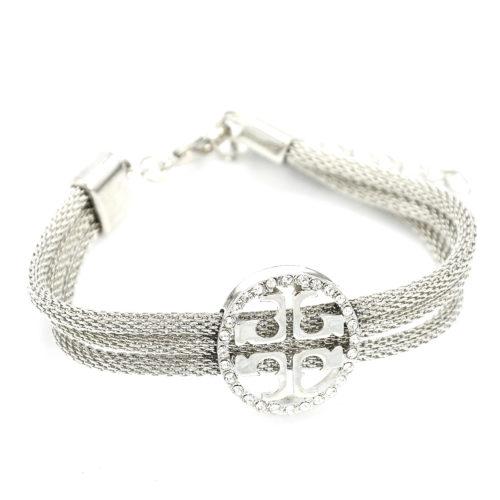 Bracelet-Triple-Chaine-Metal-et-Cercle-Contour-Strass-Argente