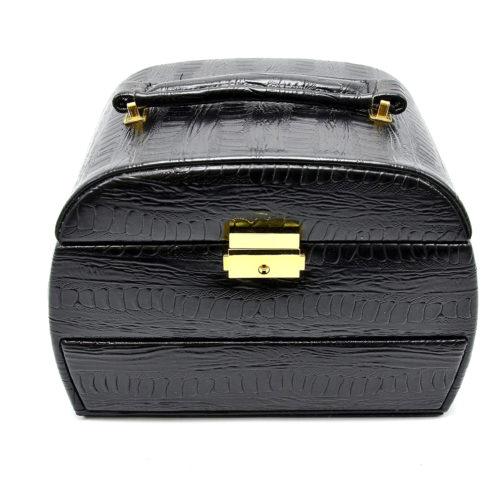 Boite-a-Bijoux-Effet-Croco-Vernis-avec-3-Etages-Noir-Mode-Femme