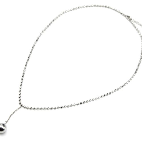 Collier-Chaine-Boules-et-Pendentif-Boule-Pendante-Metal-Argente