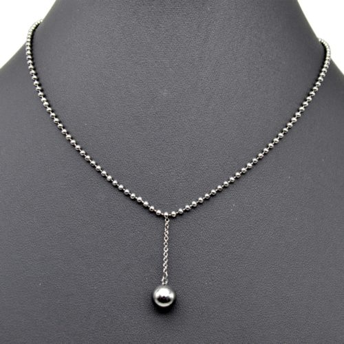 Collier-Chaine-Billes-Pendentif-Boule-Metal-Gris