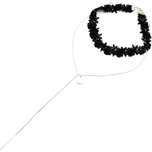 Collier-Choker-Ras-du-Cou-Bande-Fleurs-Dentelle-Noir-avec-Chaine-Cercle-et-Barre-Metal-Argente