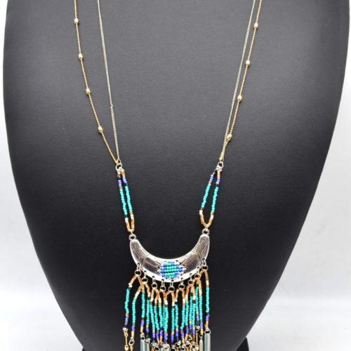 Sautoir-Collier-Pendentif-Demi-Lune-avec-Perles-et-Chaines-Turquoise