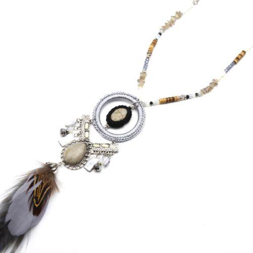 Sautoir-Collier-Perles-Pendentif-Cercle-Pierres-Effet-Marbre-Gris-et-Plumes