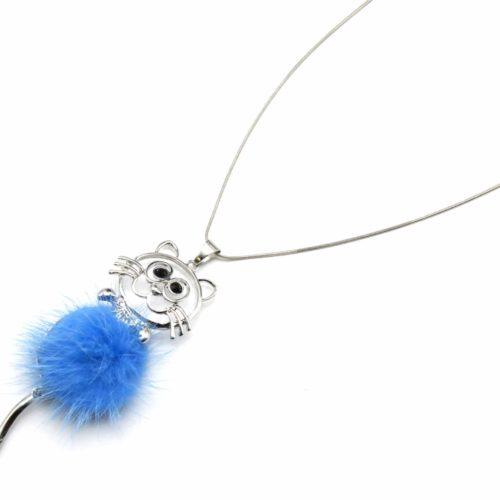 Sautoir-Collier-Pendentif-Chat-Metal-Argente-avec-Pompon-Bleu