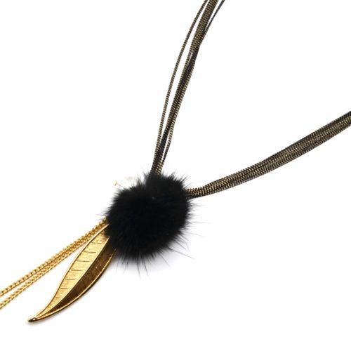 Sautoir-Collier-Multi-Chaines-avec-Pendentifs-Feuille-Metal-Dore-et-Pompon-Noir