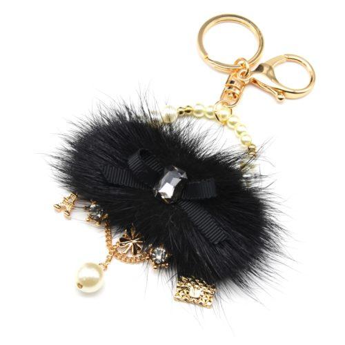 Porte-Cles-Bijou-de-Sac-Sac-a-Main-Pompon-Noir-avec-Noeud-Perles-et-Charms-Metal-Dore