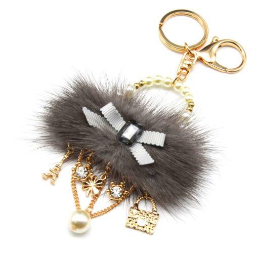 Porte-Cles-Bijou-de-Sac-Sac-a-Main-Pompon-Gris-avec-Noeud-Perles-et-Charms-Metal-Dore