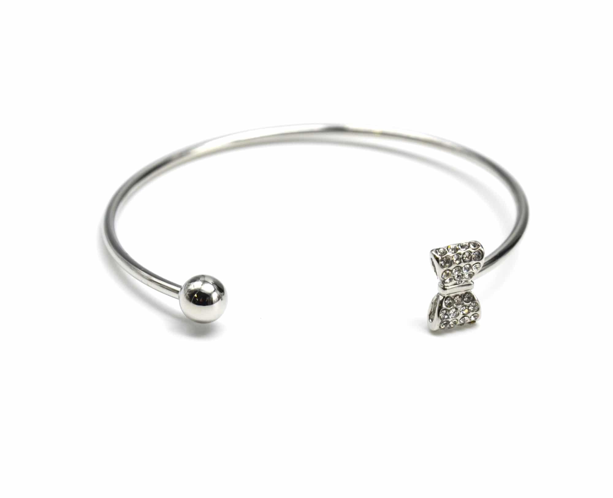 e40aeb453c41b BC1482E – Bracelet Jonc Ouvert avec Boule Métal Argenté et Noeud Bow Strass  – Mode Fantaisie