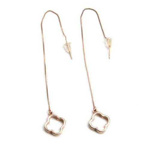 Boucles-dOreilles-Traversantes-Fine-Chaine-et-Trefle-Ouvert-Metal-Or-Rose
