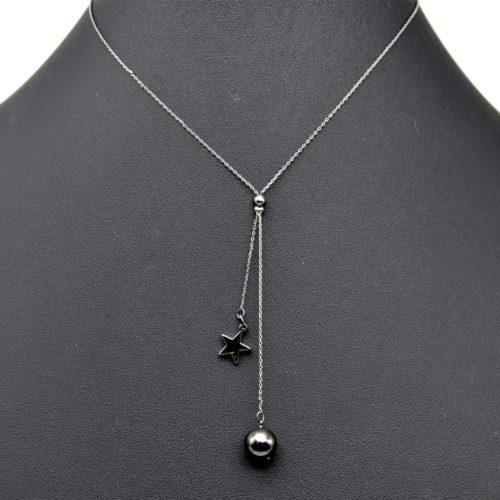 Collier-Fine-Chaine-Pendentif-Etoile-et-Boule-Metal-Gris