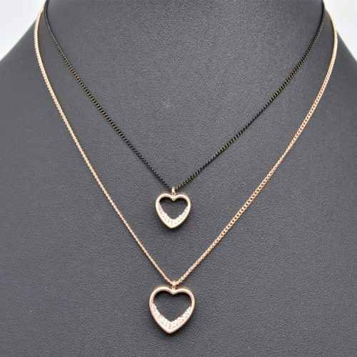 Collier-Double-Chaine-Pendentifs-Coeurs-Contour-Strass-et-Metal-Or-Rose