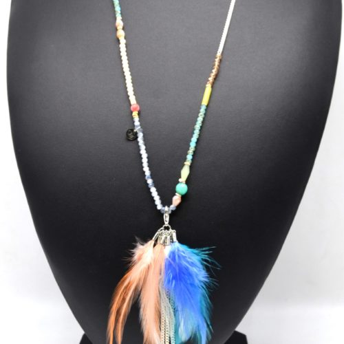 Sautoir-Collier-Perles-Brillantes-Pendentif-Plumes-Pompon-et-Pierres-Multicolore