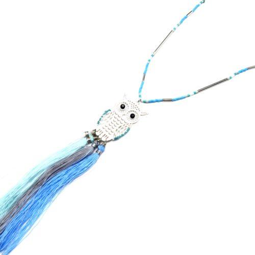 Sautoir-Collier-Fine-Chaine-Perles-avec-Hibou-Ajoure-Acier-Argente-et-Franges-Bleu