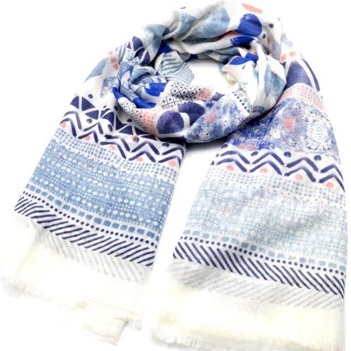 Foulard-Long-Printemps-Ete-Assortiment-Motifs-Ethnique-Art-Style-Aquarelle-Bleu