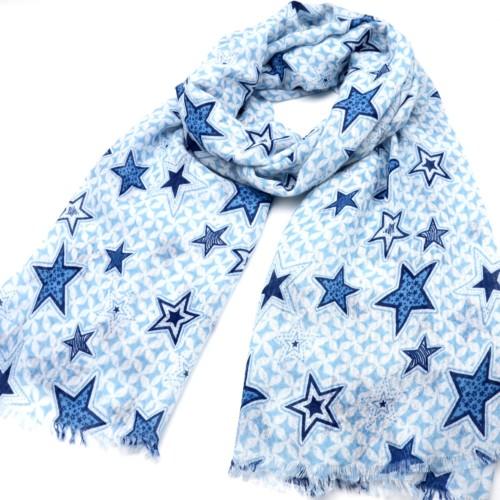 Foulard-Long-Printemps-Ete-Imprime-Motif-Etoiles-Assorties-Bleu