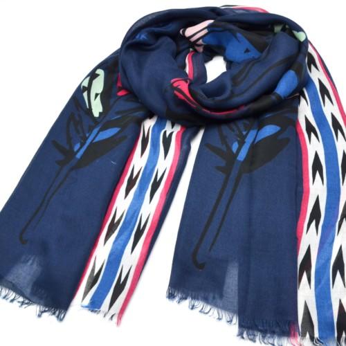 Foulard-Long-Printemps-Ete-Uni-Bleu-Marine-Imprime-Motif-Plumes-Ethnique-Multicolore-et-Chevrons