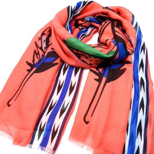 Foulard-Long-Printemps-Ete-Uni-Corail-Imprime-Motif-Plumes-Ethnique-Multicolore-et-Chevrons