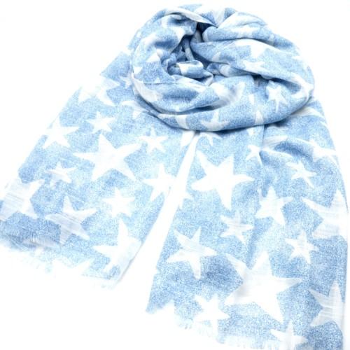 Foulard-Long-Printemps-Ete-Mouchete-Imprime-Motif-Etoiles-Bleu-Clair