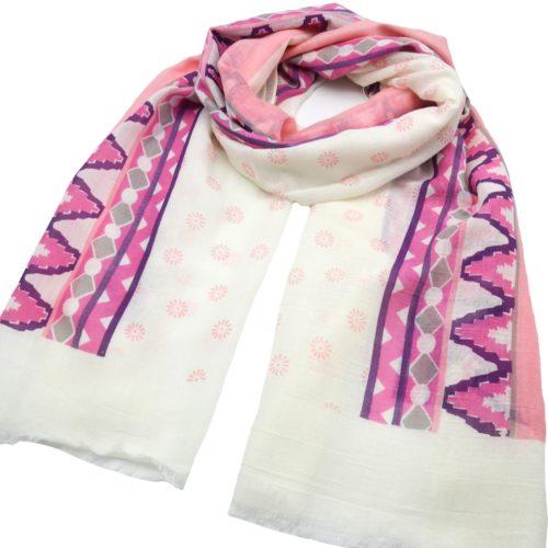 Foulard-Long-Printemps-Ete-Imprime-Motif-Fleurs-et-Bandes-Ethnique-Multicolore-Rose