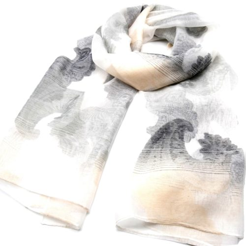 Foulard-Long-Printemps-Ete-Style-Organza-Motif-Degrade-Fleurs-et-Vagues-Blanc