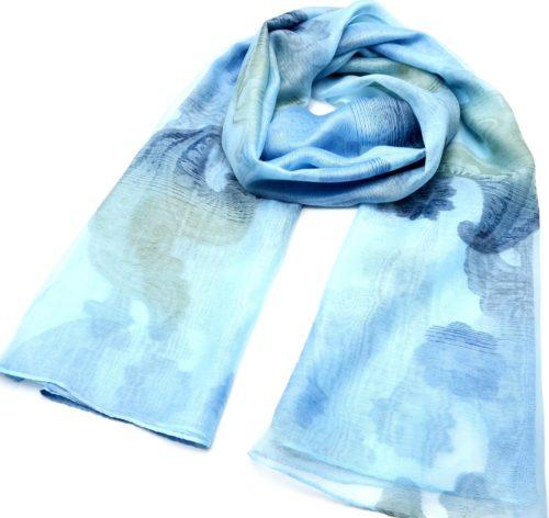 Foulard-Long-Printemps-Ete-Style-Organza-Motif-Degrade-Fleurs-et-Vagues-Bleu-Clair