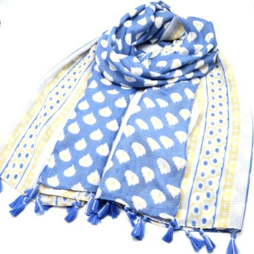 Foulard-Long-Printemps-Ete-Imprime-Flammes-et-Motifs-Assortis-Feuilles-avec-Pompons-Bleu