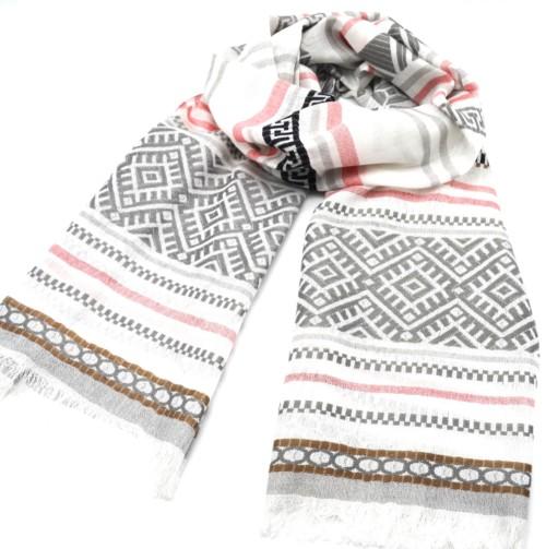 Foulard-Long-Printemps-Ete-Bandes-Motif-Style-Mosaique-et-Rayures-Gris