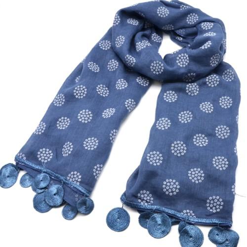 Foulard-Long-Printemps-Ete-Uni-Motif-Flocons-de-Mini-Fleurs-et-Cercles-Macrame-Bleu-Jean