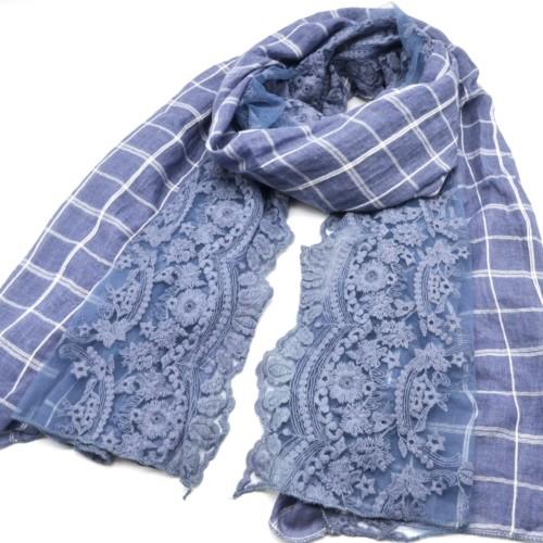 Foulard-Long-Printemps-Ete-Imprime-Carreaux-et-Dentelle-Motif-Fleurs-Bleu-Jean