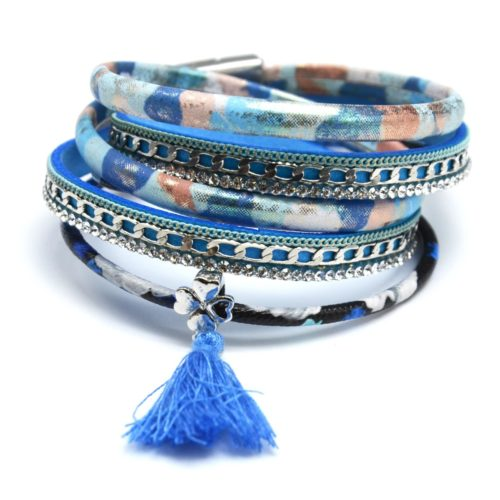 Bracelet-Double-Tour-Multi-Rangs-Simili-Cuir-Satine-Jungle-Chaine-Strass-avec-Charm-Pompon-Bleu