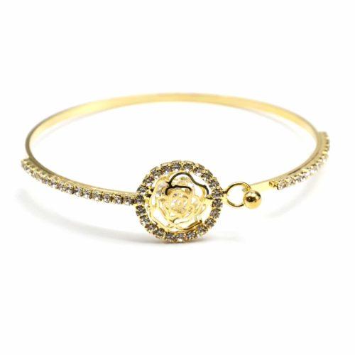 Bracelet-Jonc-Fleur-avec-Cristaux-et-Contour-Cercle-Strass-Dore-Jaune